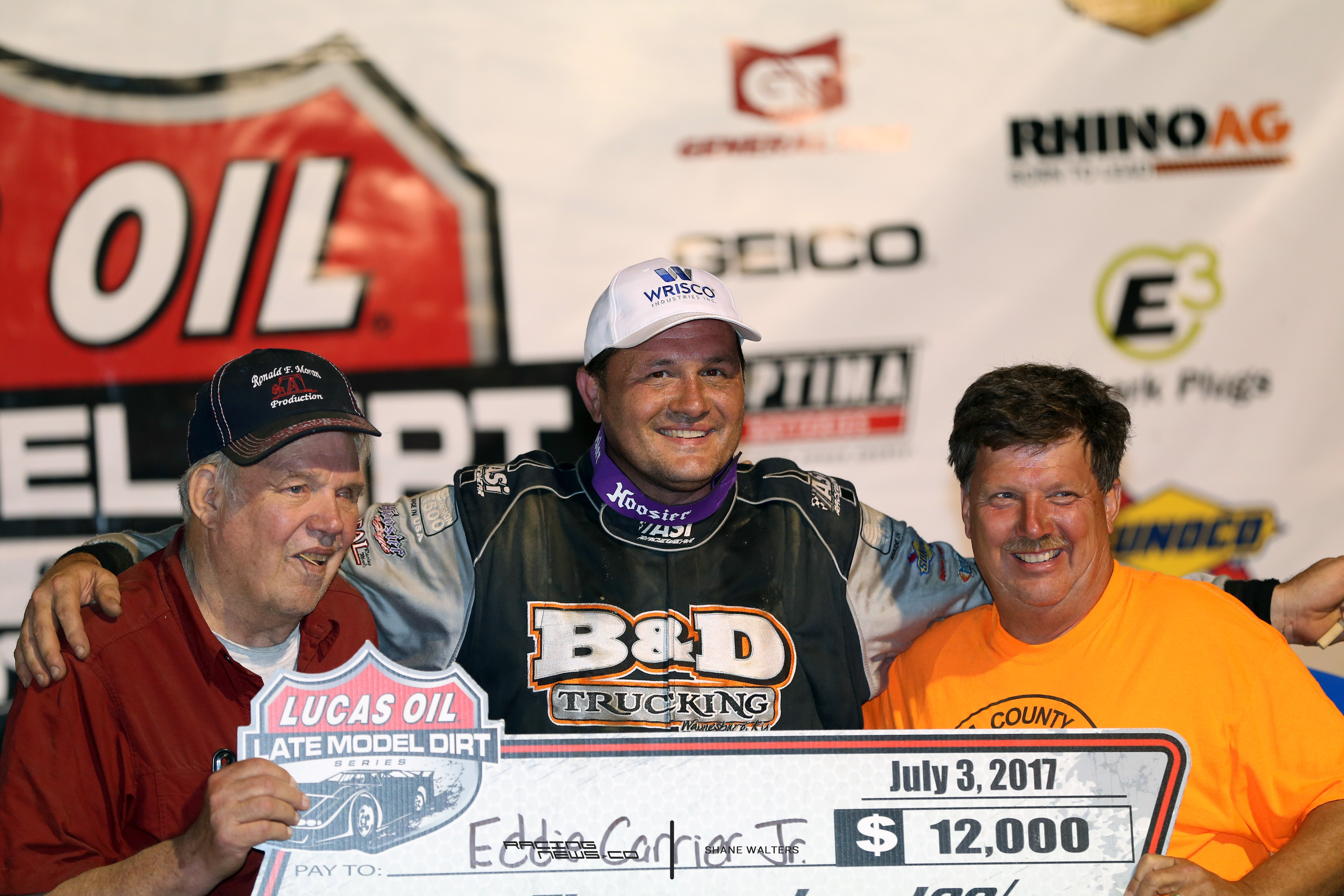 Eddie Carrier Jr, Ronnie Moran and Donnie Moran Muskingum County Speedway Victory Lane