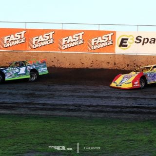 Josh RIchards and Billy Moyer Sr at Tri City Speedway Pontoo Beach, IL 8061