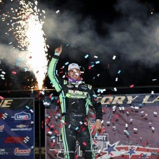 Josh Richards Freedom 50 victory lane at Mansfield Motor Speedway 4934