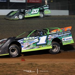 Josh Richards and Jimmy Owens at Lucas Oil Speedway 9085