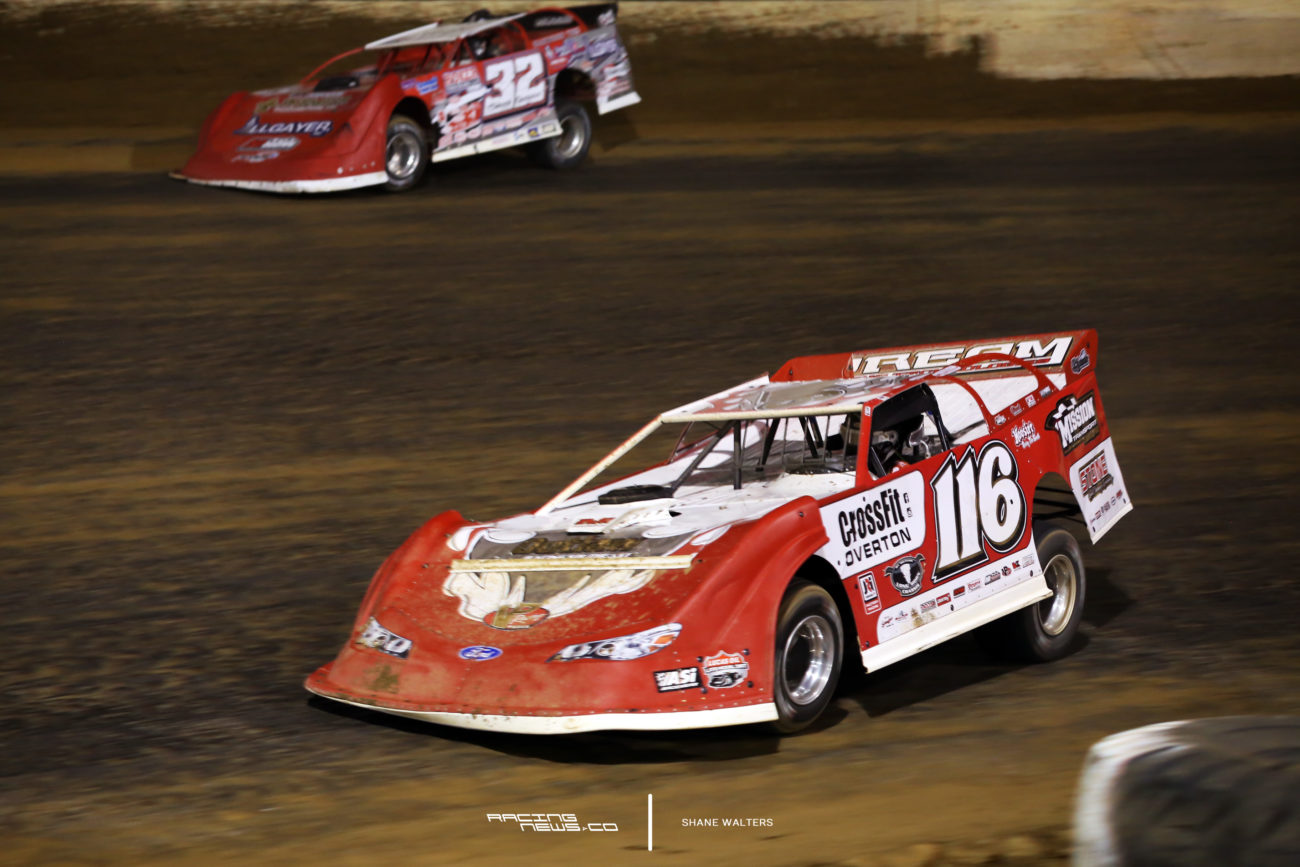Brandon Overton and Bobby Pierce in the 2017 North South 100 at Florence Speedway 4694