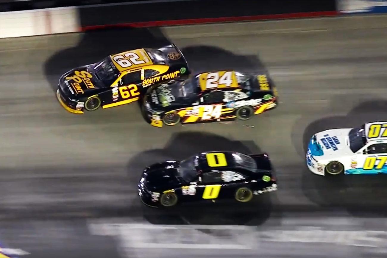 Brendan Gaughan vs Jeb Burton at Bristol Motor Speedway in NASCAR Xfinity