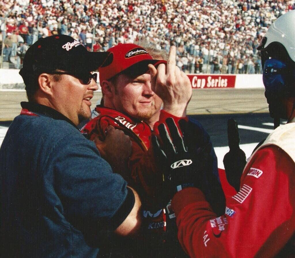 Dale Earnhardt Jr flipping the bird at Bristol Motor Speedway