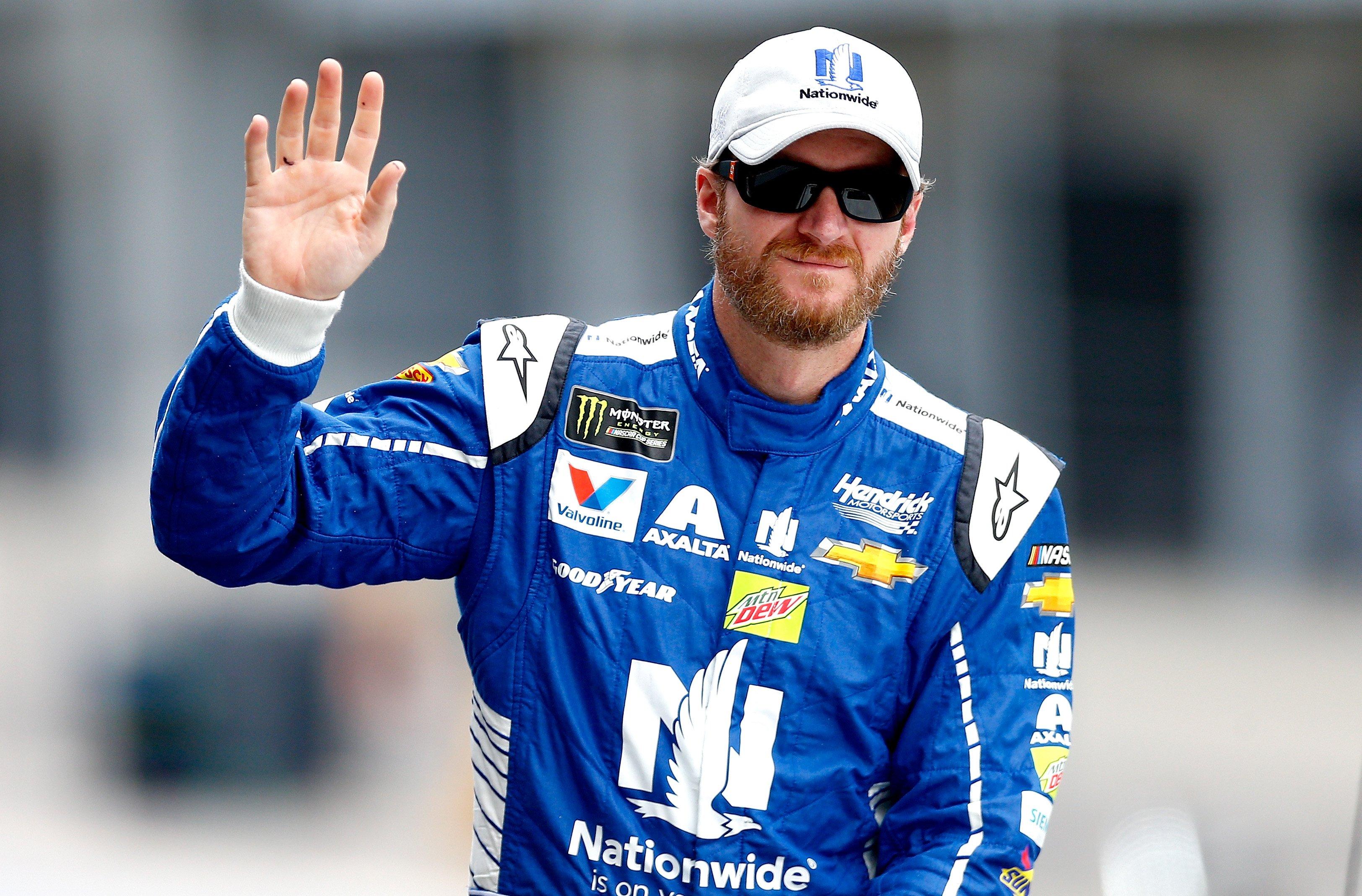 Dale Earnhardt Jr waving
