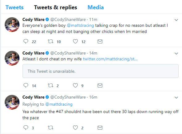 Cody Ware vs Matt DiBenedetto - Atleast I dont cheat on my wife