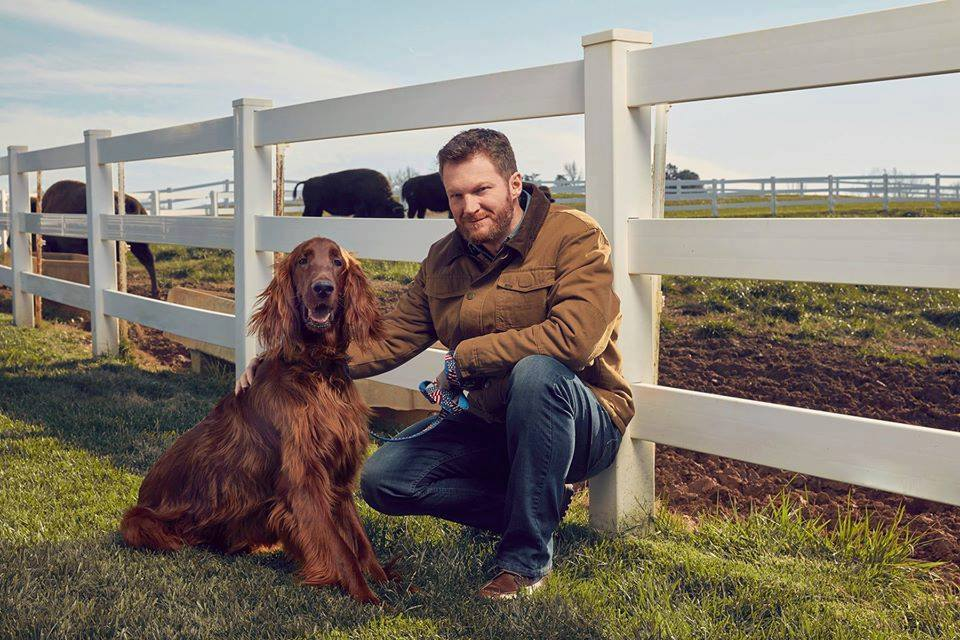 Dale Earnhardt Jr and his dog Gus