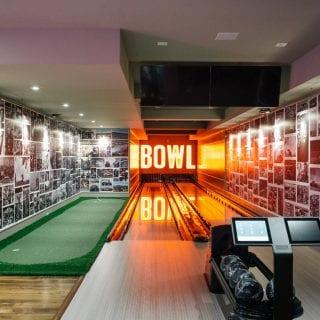 Denny Hamlin indoor bowling ally