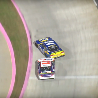 Denny Hamlin wrecks Chase Elliott