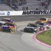 Kyle Busch moves Denny Hamlin at Martinsville Speedway