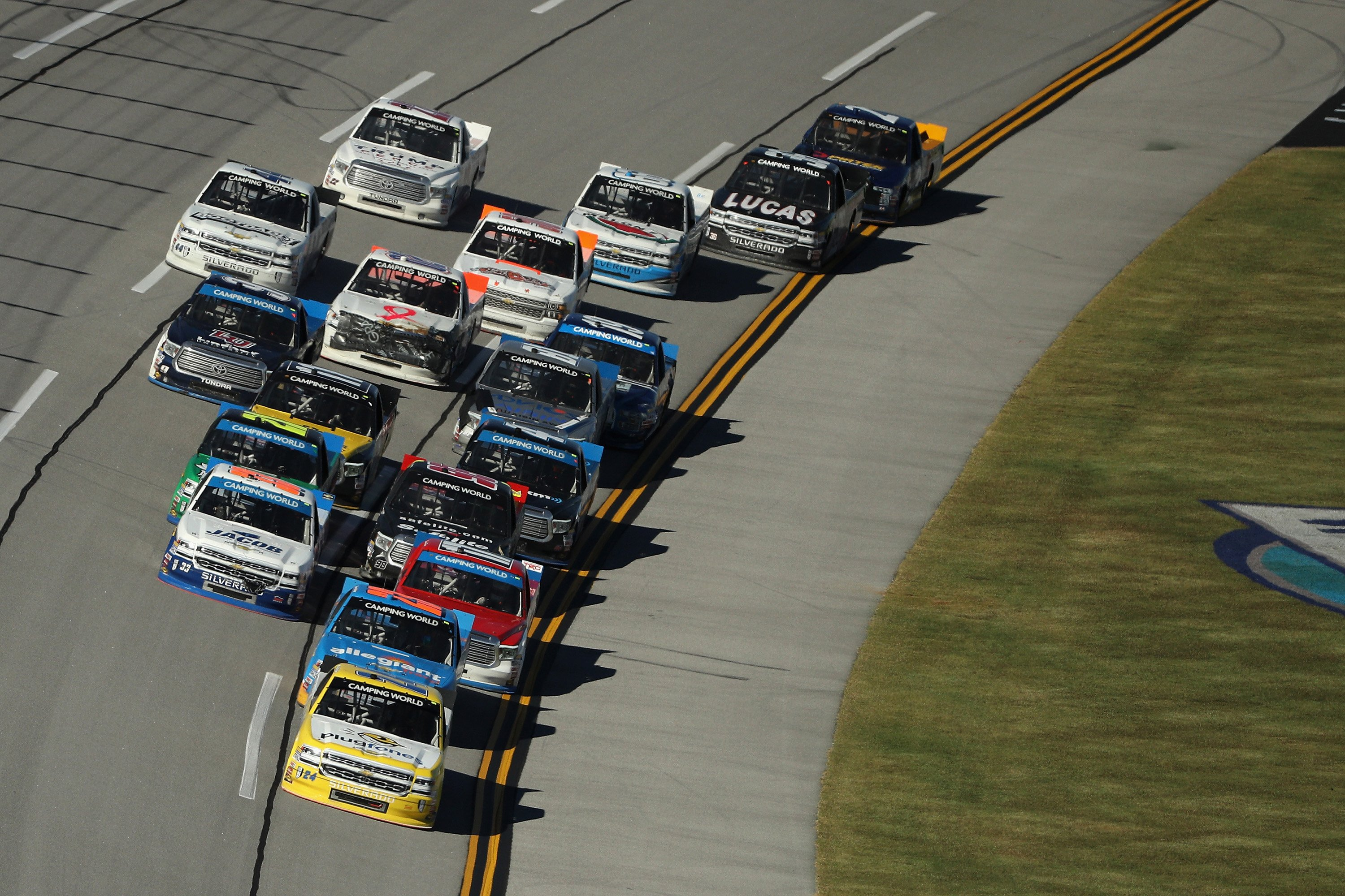 Timothy Peters wrecks Gragson to win Talladega truck race