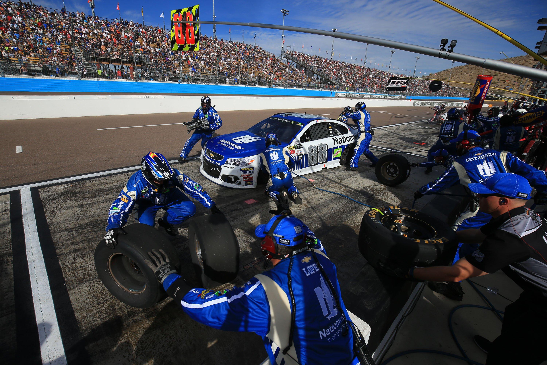 Dale Earnhardt Jr pit stop - ISM Raceway