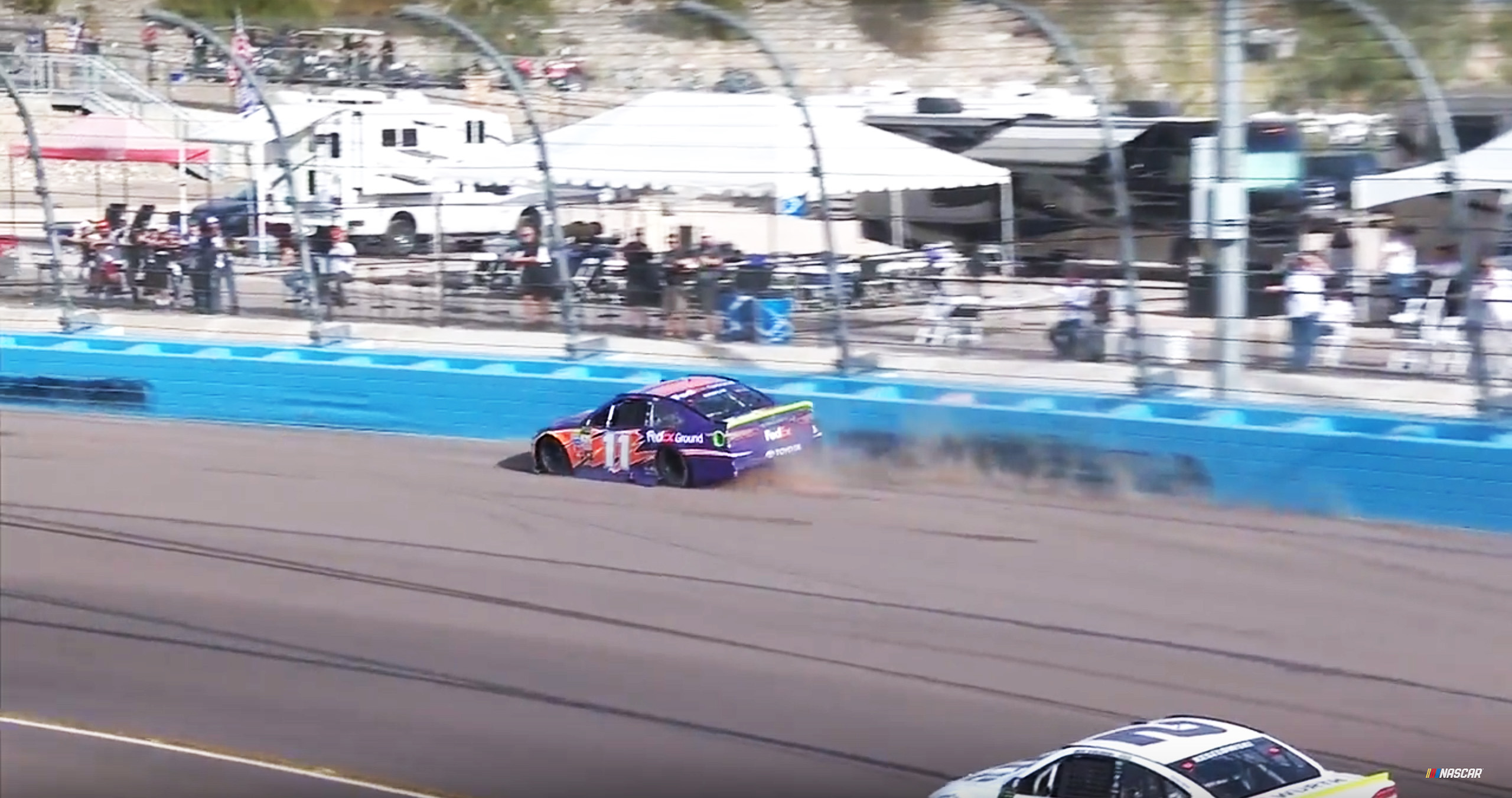 Denny Hamlin in the wall at Phoenix Raceway