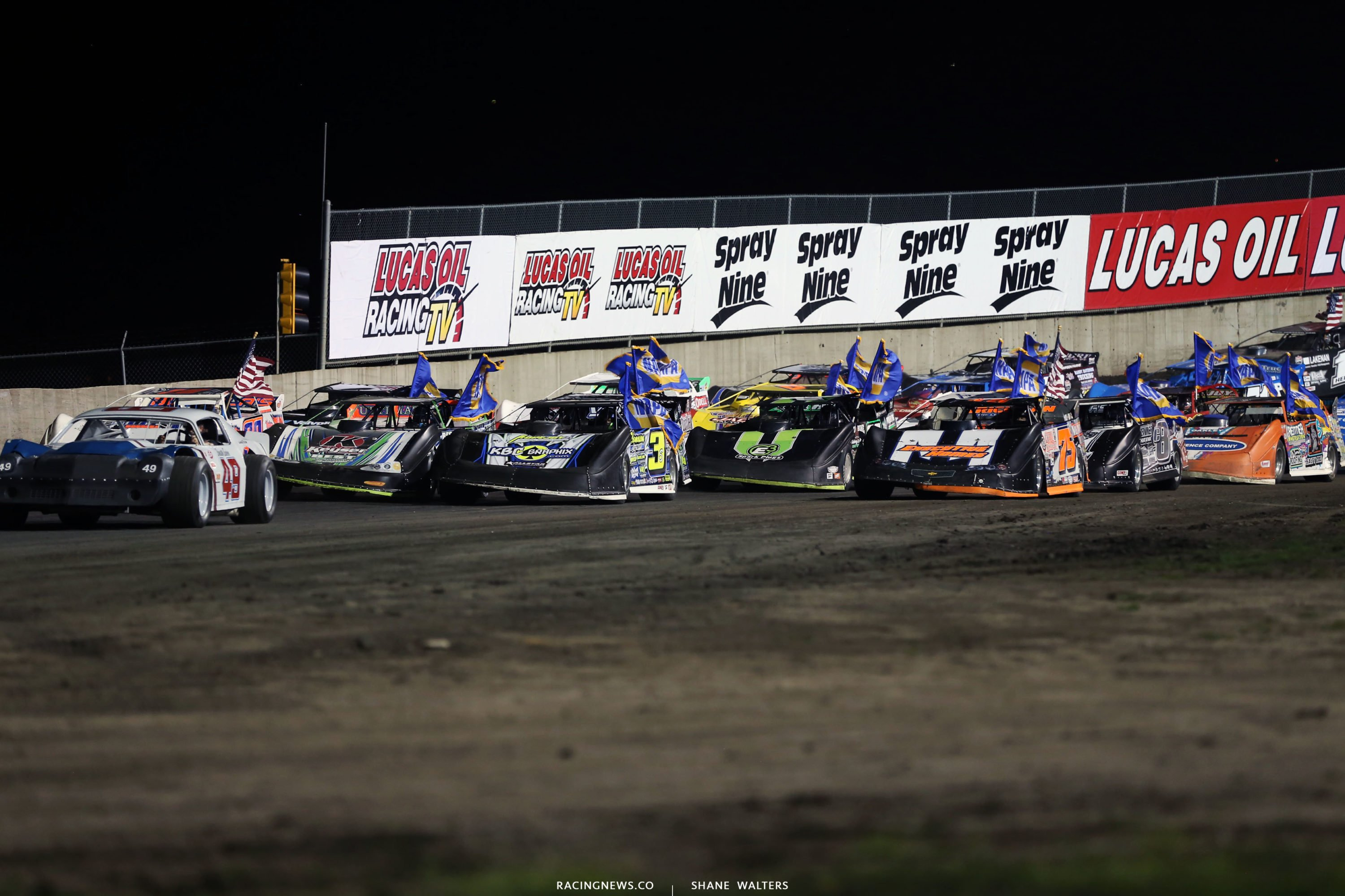 4 Wide Salute at Tri-City Speedway ahead of the Lucas Oil Late Model feature