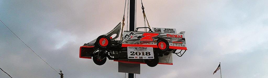 Bedford Speedway set up a race car drop instead of ball drop