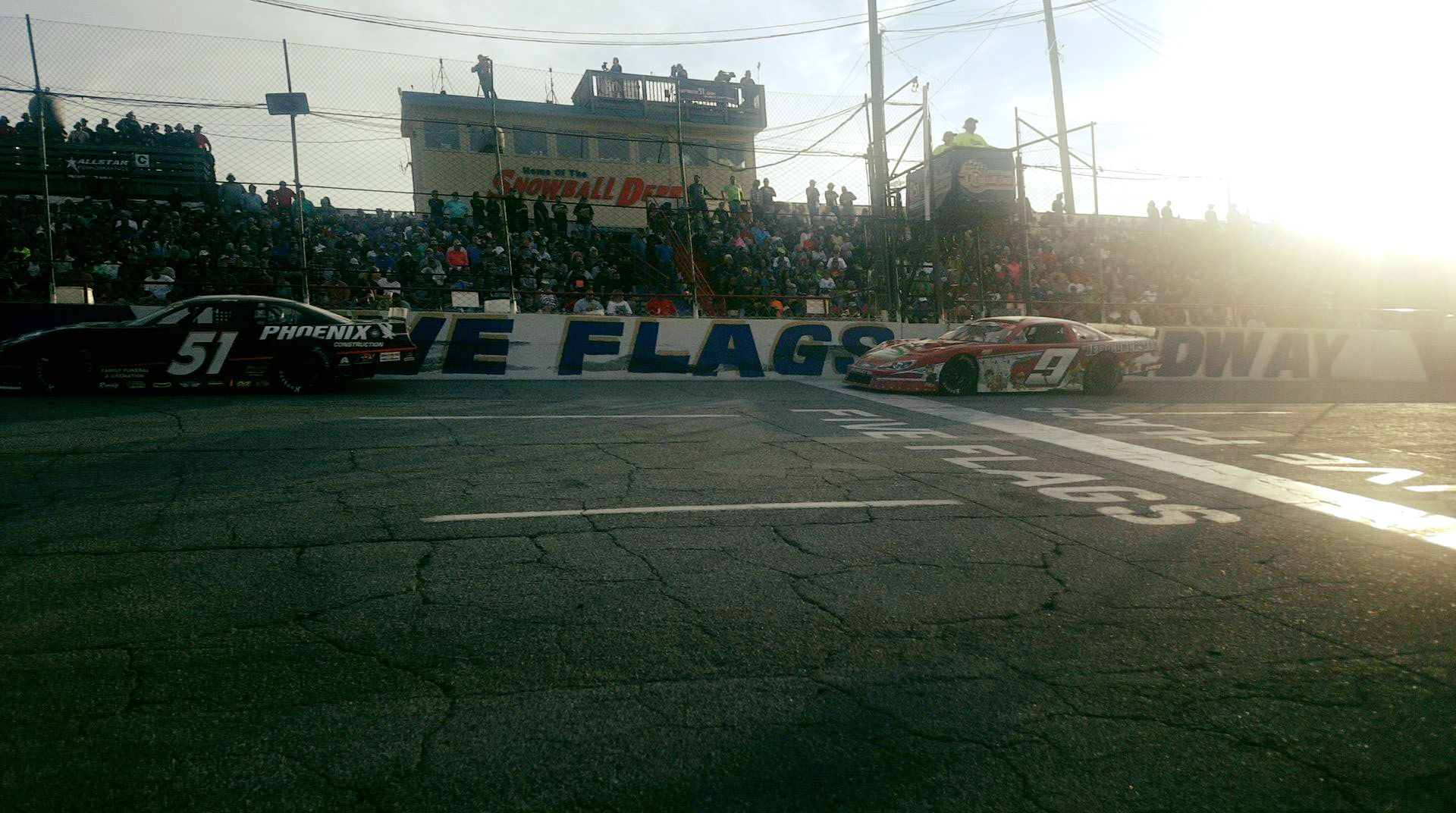 Kyle Busch and Jeff Choquette in the front of the Snowball Derby at 5 Flags Speedway