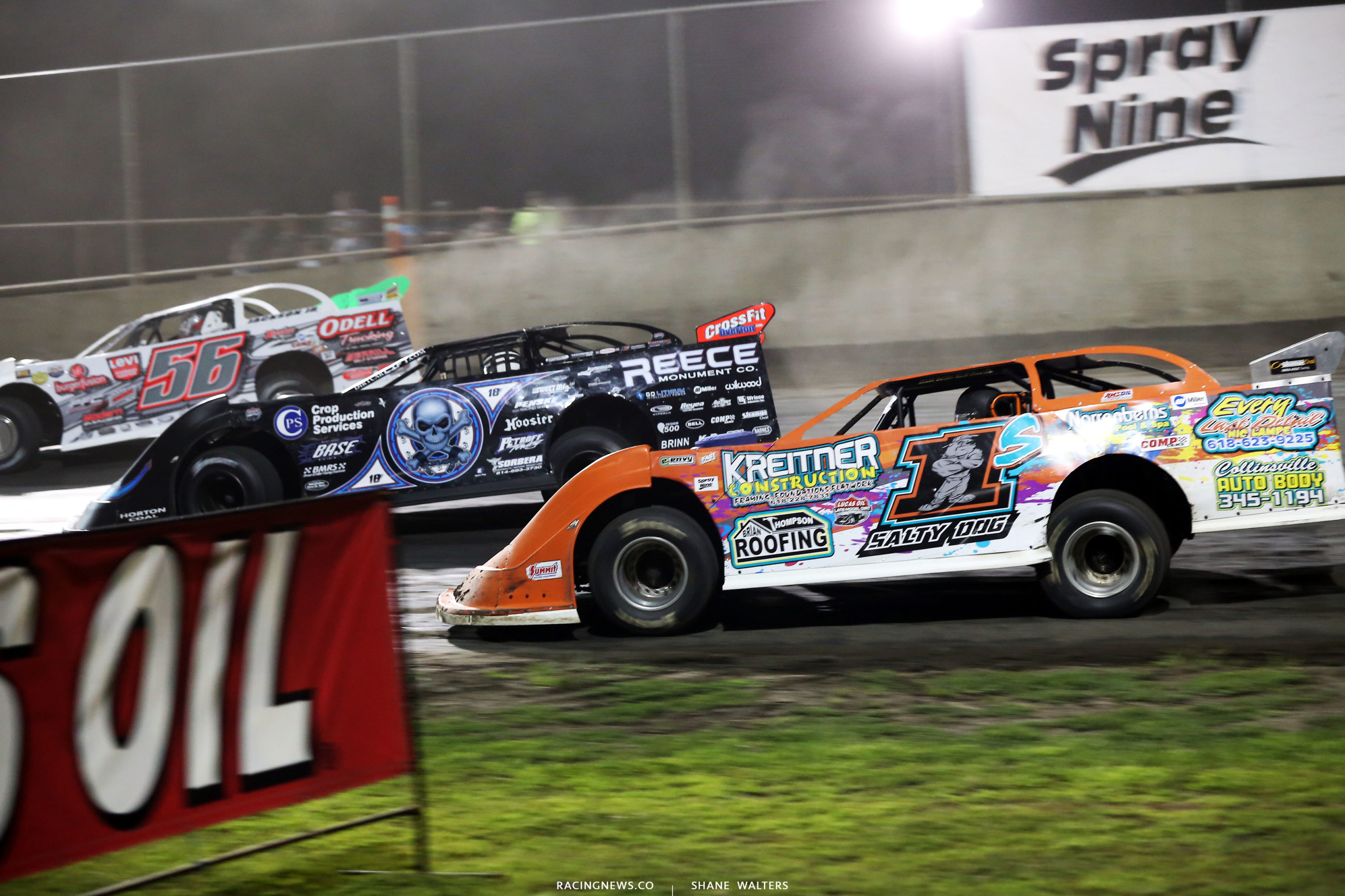 Rick Salter, Scott Bloomquist and Tony Jackson Jr in the Lucas Oil Late Model Dirt Series show at Tri-City 8210