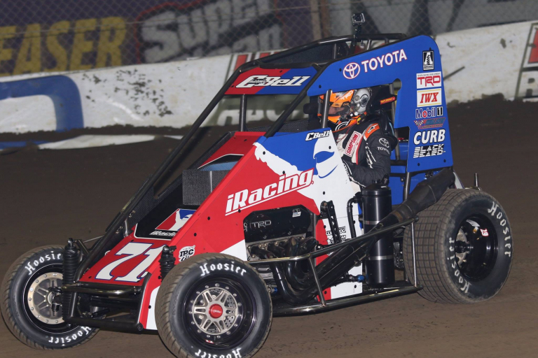 Christopher Bell in his iRacing Dirt Midget during the 2018 Chili Bowl Nationals