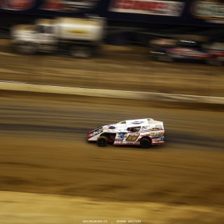 Kyle Steffens in his dirt modified at The Dome 5152