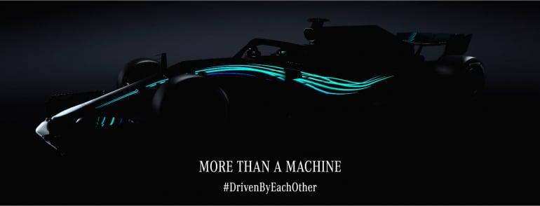 2018 Mercedes F1 car glow