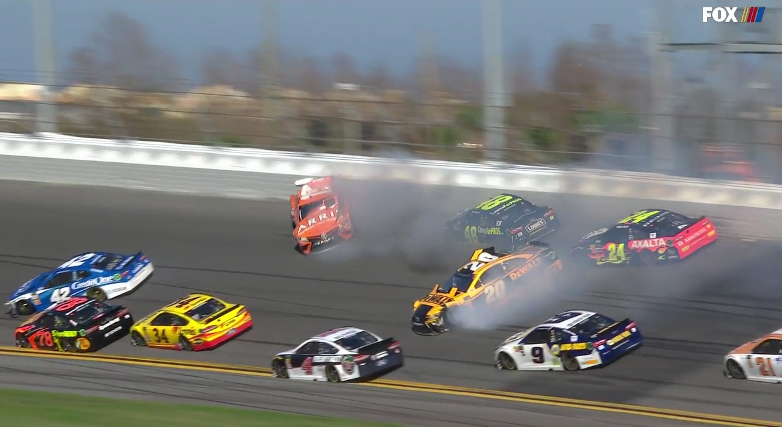Big One in 2018 Daytona 500 - Stage 1 crash