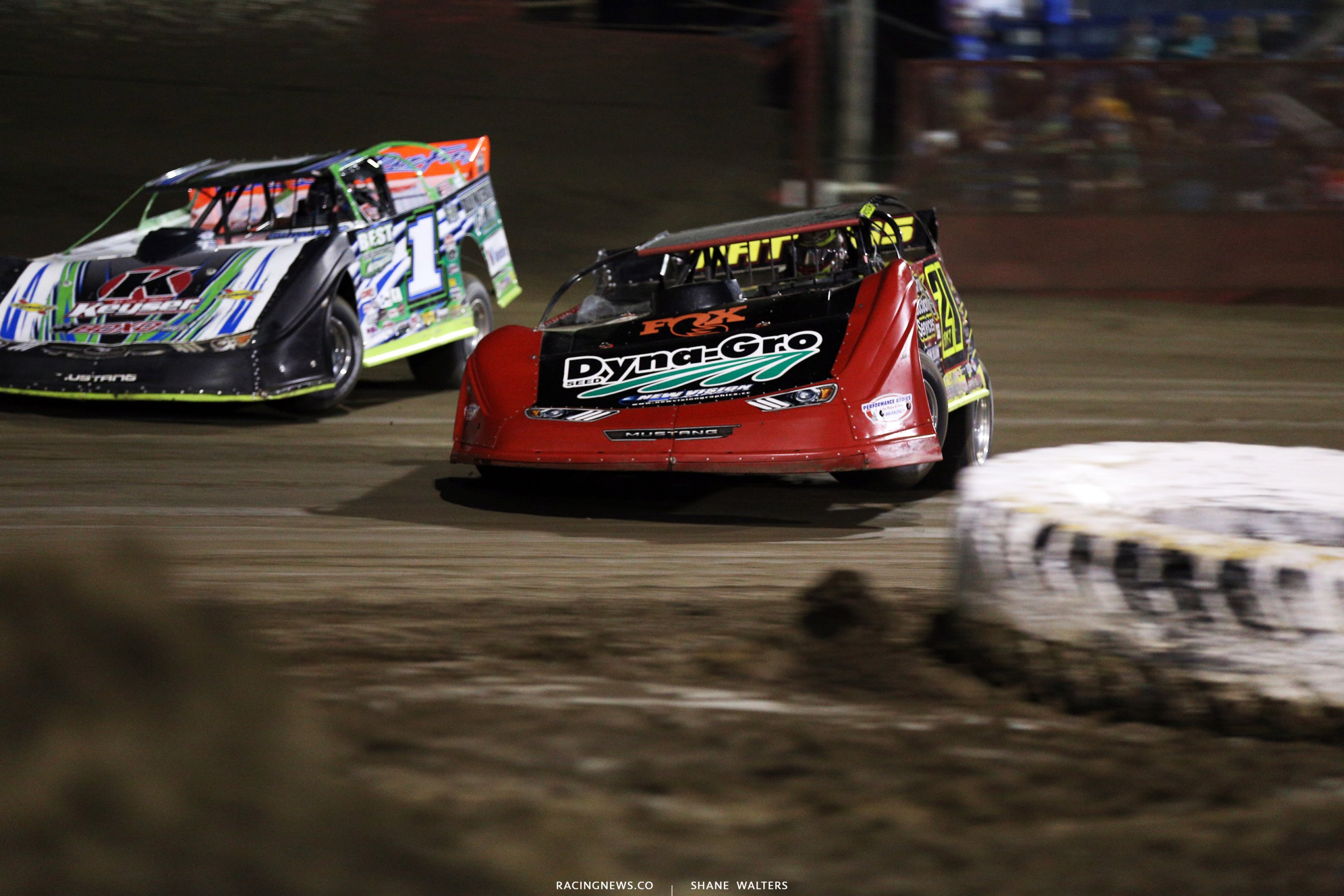 Billy Moyer Jr and Josh Richards at East Bay Raceway Park 9771