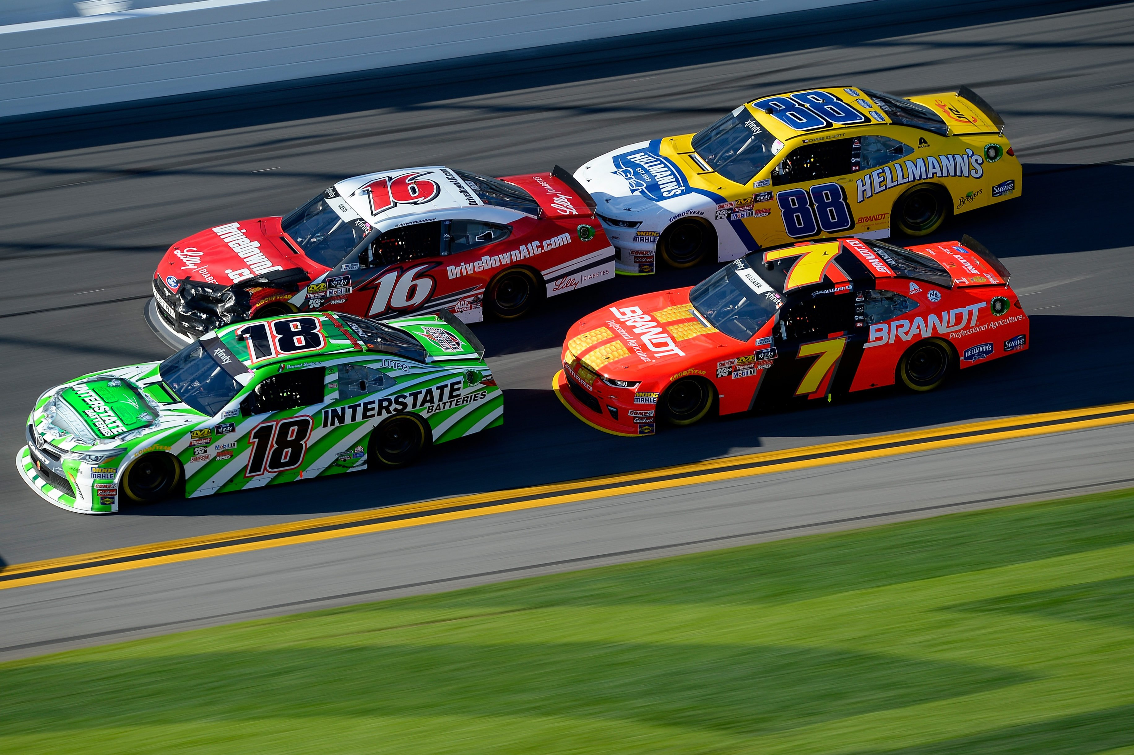 Daniel Suarez, Matt Tifft, Chase Elliott and Justin Allgaier at Daytona