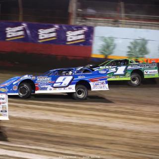 Devin Moran, Josh Richards and Brandon Sheppard battle at East Bay Raceway Park 7782