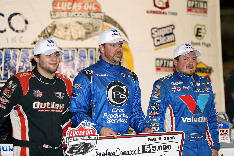 Jonathan Davenport, Brandon Overton, Brandon Sheppard on the podium at East Bay Raceway Park 8325