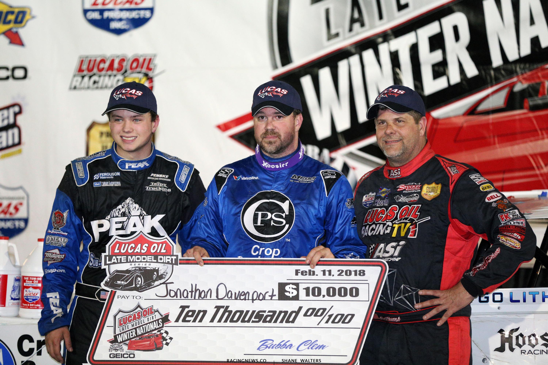 Jonathan Davenport, Earl Pearson Jr and Hudson O'Neal on the Lucas Oil Late Model Dirt Series podium 0952