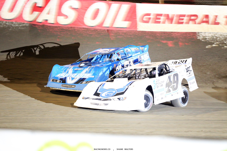 Jonathan Davenport and Hudson O'Neal at East Bay Raceway Park 9923