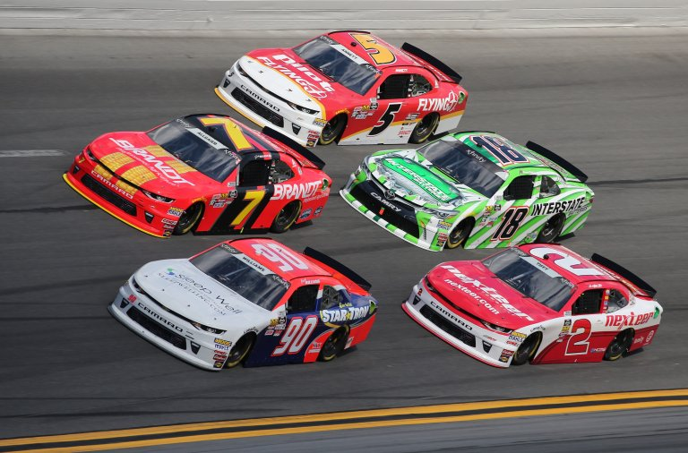 Josh Williams, Just Allgaier, Michael Annett, Matt Tifft and Daniel Suarez at Daytona