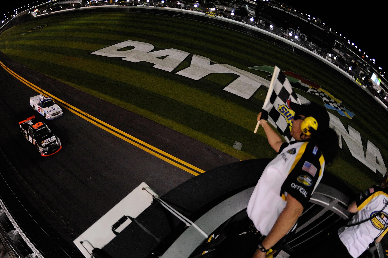 Michael Waltrip beats Elliott Sadler with a broken spoiler in the 2011 Daytona Truck Race