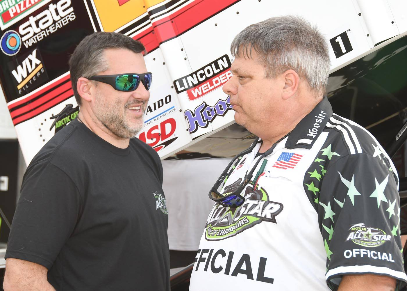 Tony Stewart talks with ASCoC official