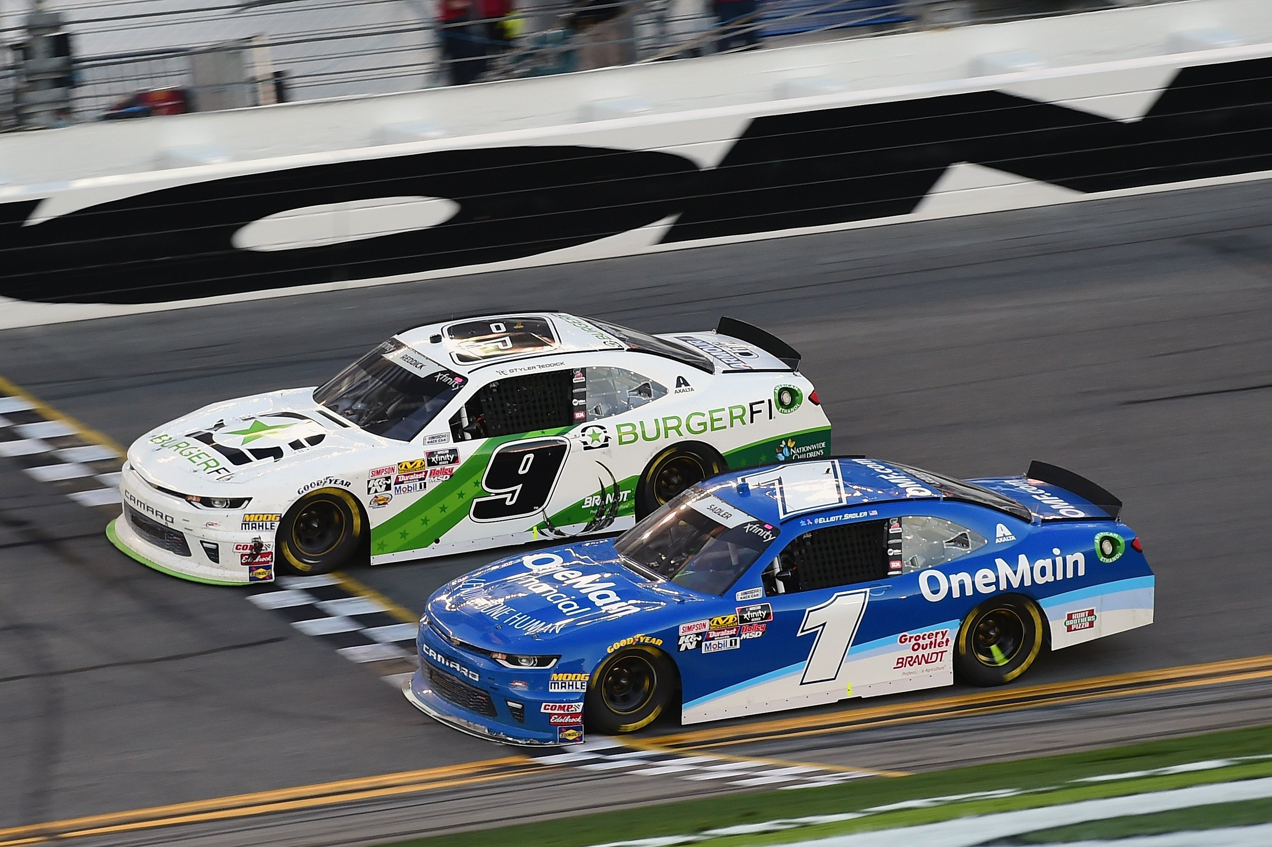 Tyler Reddick and Elliott Sadler at Daytona International Speedway