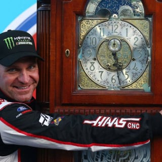 Clint Bowyer wins the grandfather clock