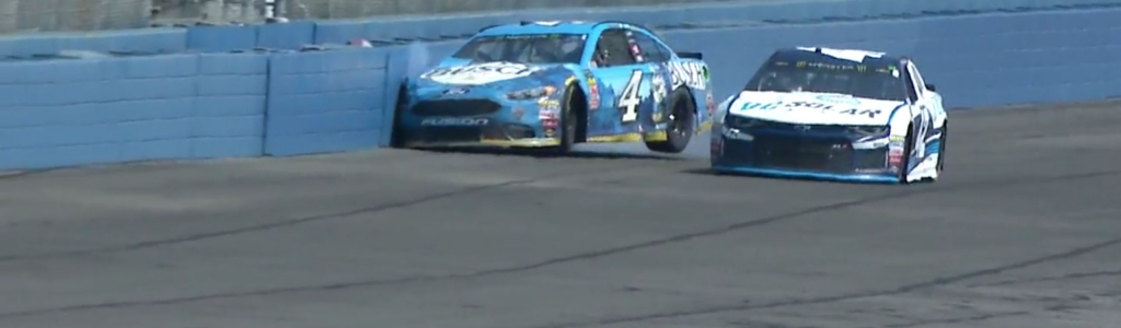 Kevin Harvick shows displeasure with Larson; Crashes himself at Auto Club (VIDEO)