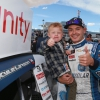 Kyle Larson and his son in victory lane