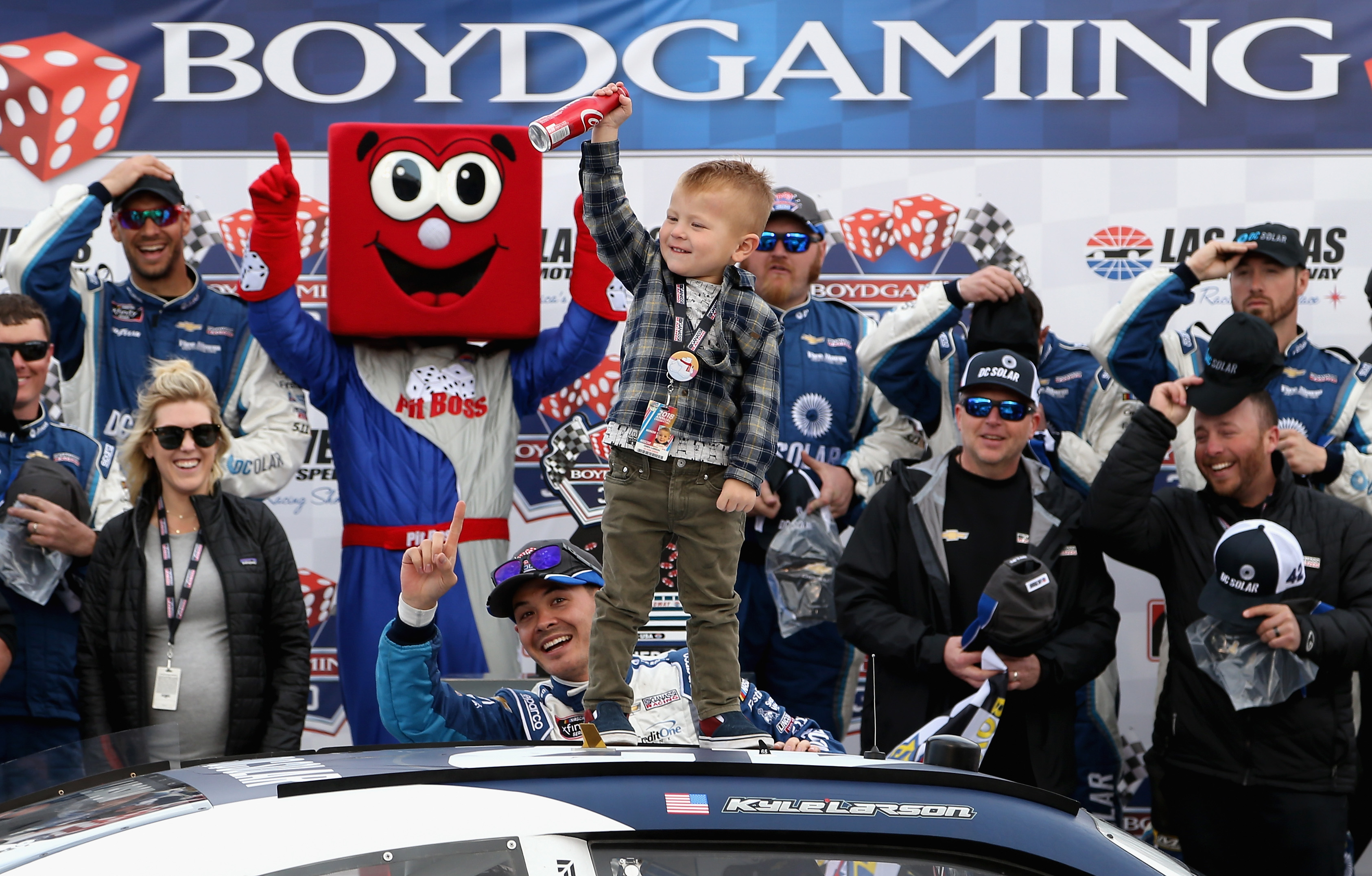 Kyle Larson and his son in victory lane at Las Vegas