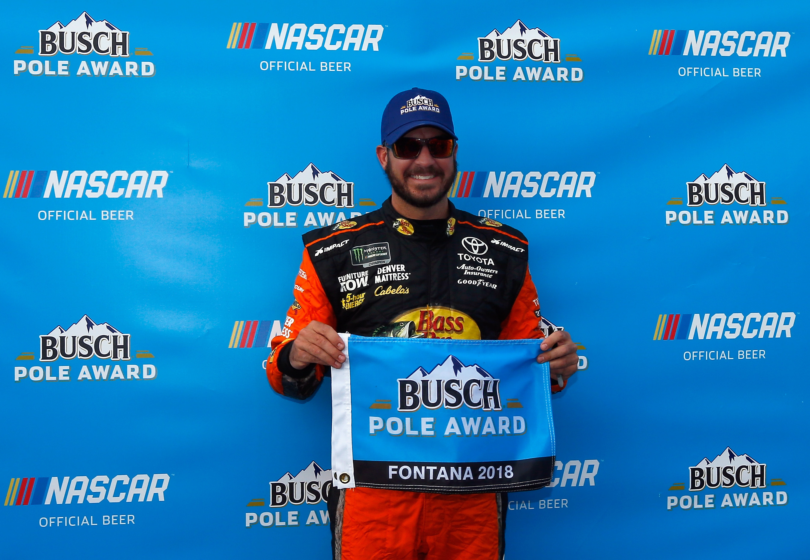 Martin Truex Jr on the pole at Auto Club Speedway