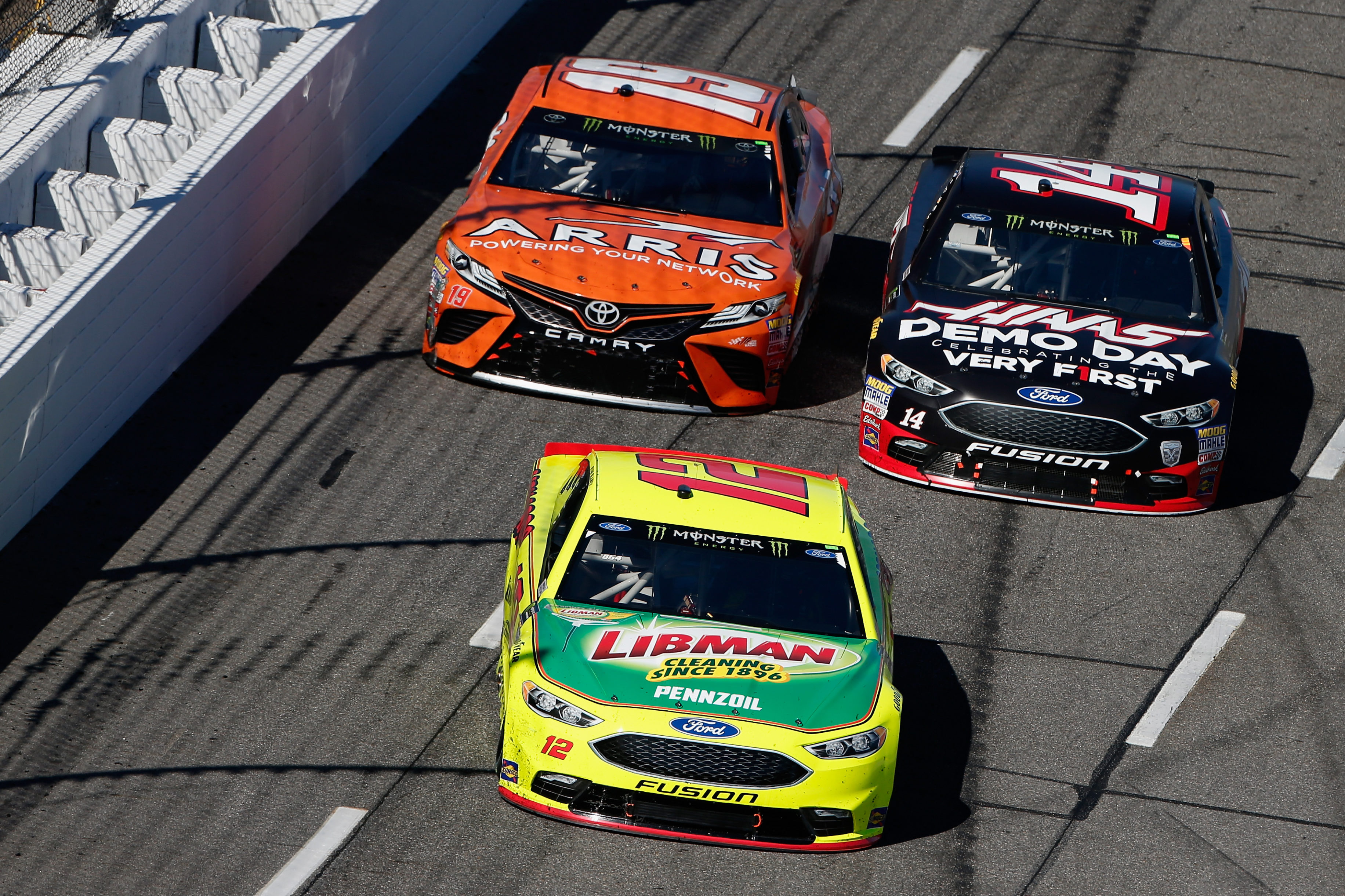 Ryan Blaney, Clint Bowyer and Daniel Suarez at Martinsville Speedway