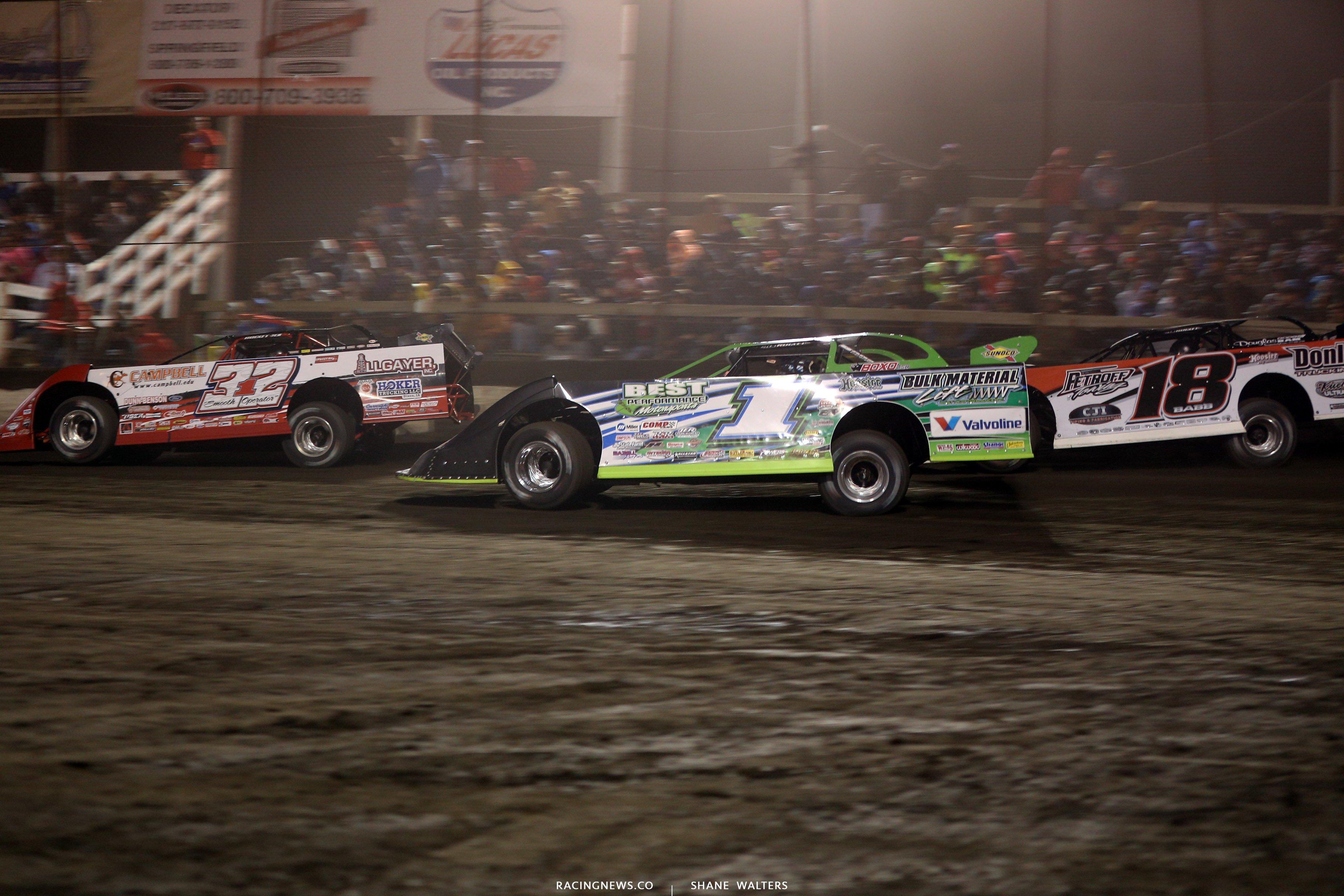 Bobby Pierce, Josh Richards and Shannon Babb at Macon Speedway 5289