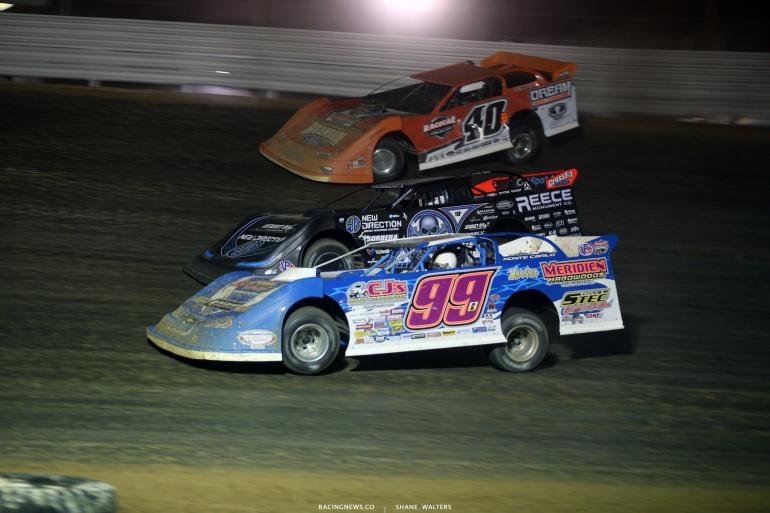 Boom Briggs, Scott Bloomquist and Kyle Bronson at Atomic Speedway 2675