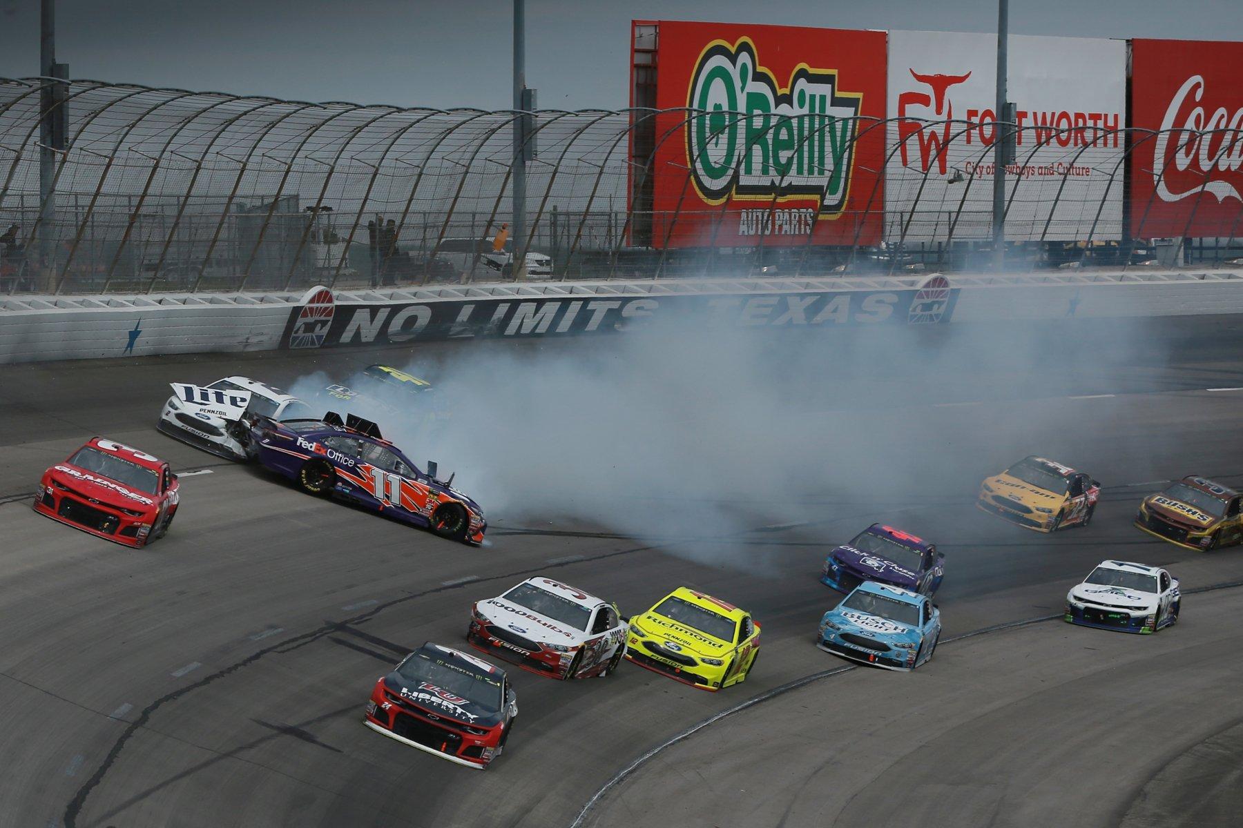 Hamlin and Keselowski crash at Texas Motor Speedway