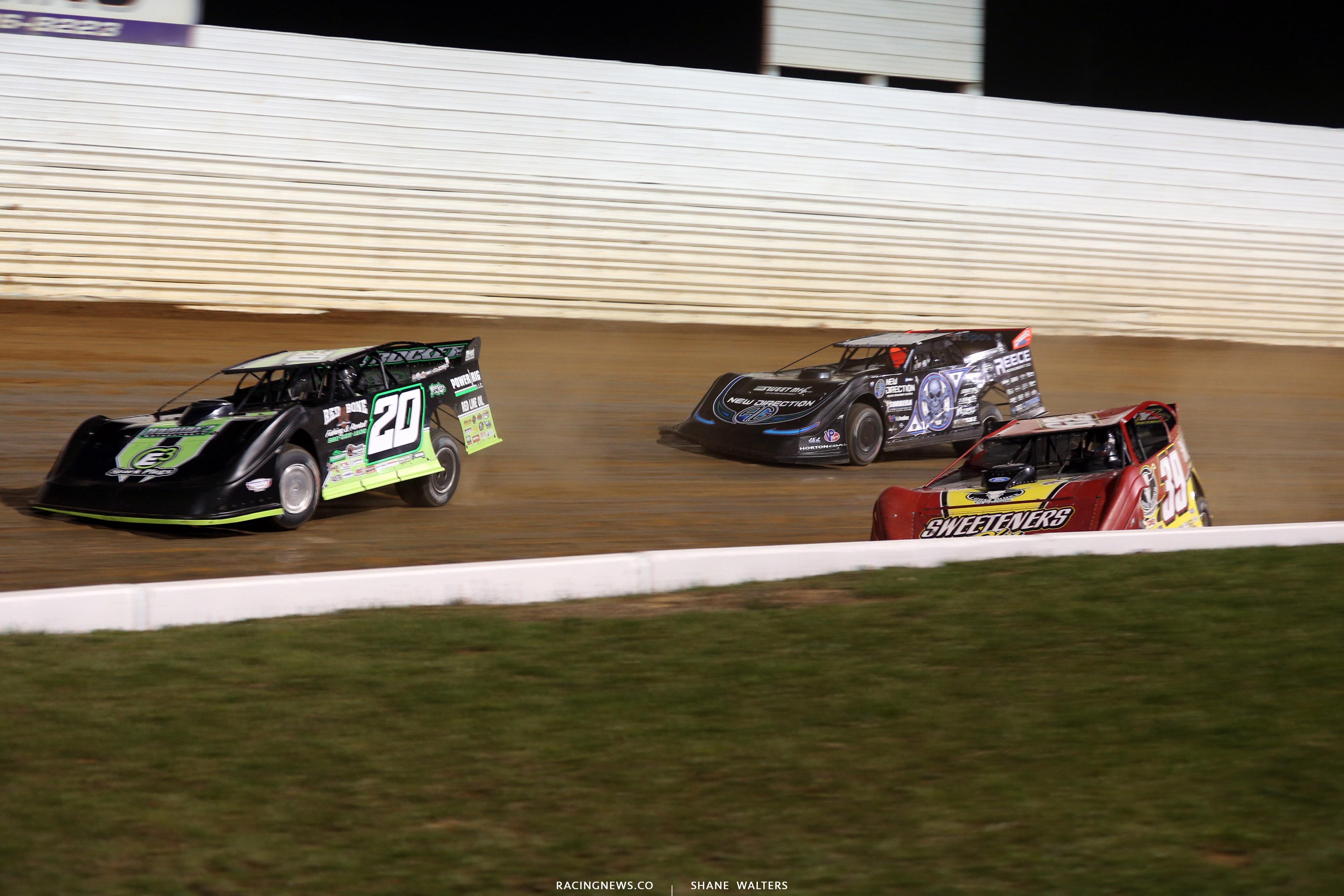 Jimmy Owens, Tim McCreadie and Scott Bloomquist at Port Royal Speedway 3930