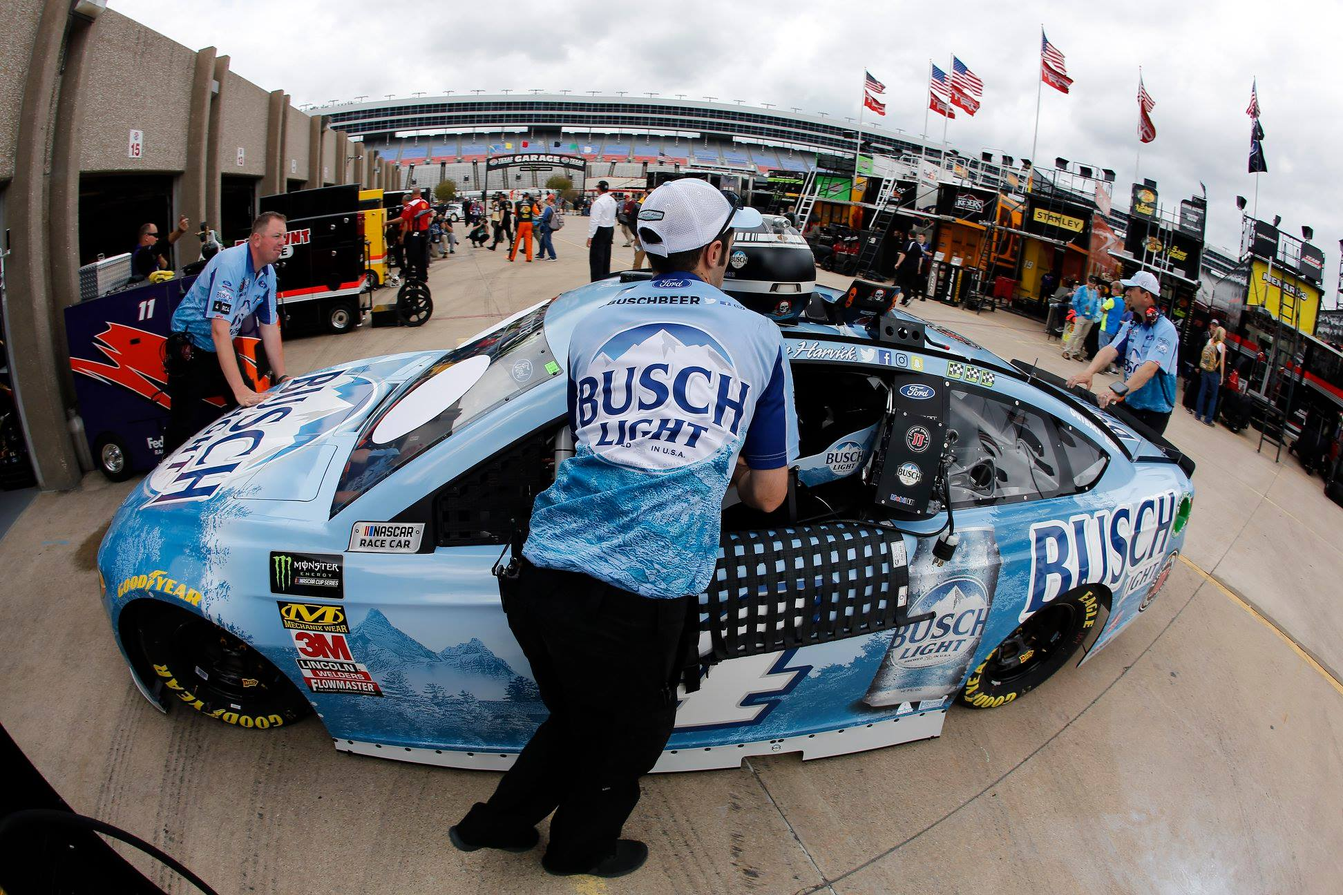 Kevin Harvick in the Texas Motor Speedway garage area following inspection