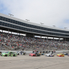 Kyle Busch and Erik Jones at in front of the crowd at Texas Motor Speedway