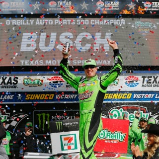 Kyle Busch in victory lane at Texas Motor Speedway