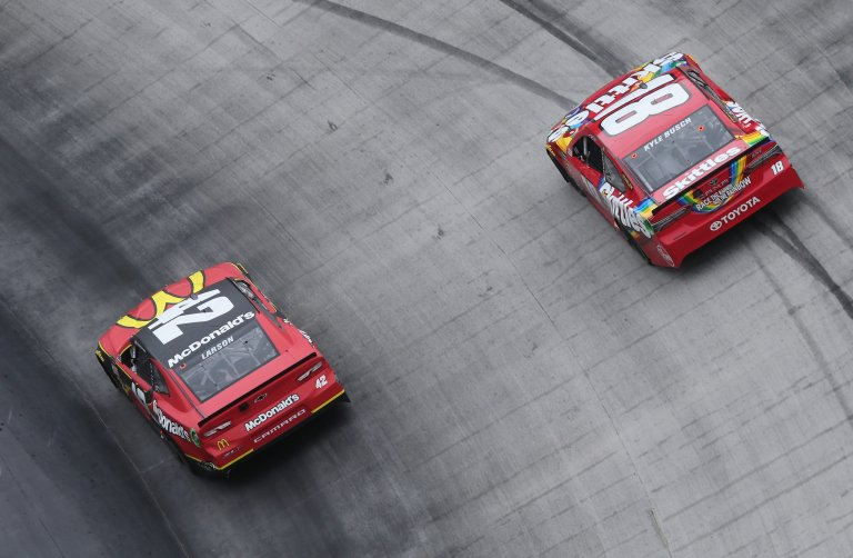 Kyle Larson and Kyle Busch at Bristol Motor Speedway