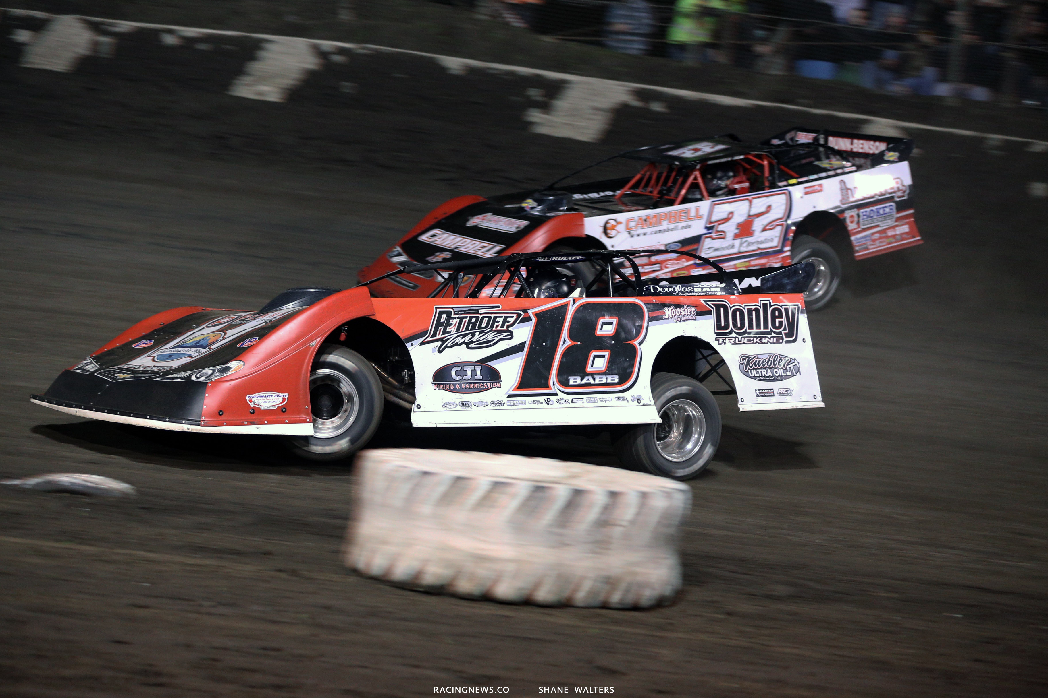 Shannon Babb and Bobby Pierce at Macon Speedway 5242