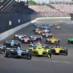 2018 Indy 500 start - Ed Carpenter leads into turn 1